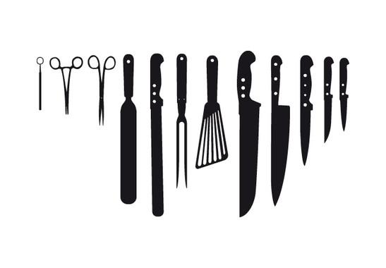 schwarz/weiss Ansicht - Wandtattoo Kitchen Knifes