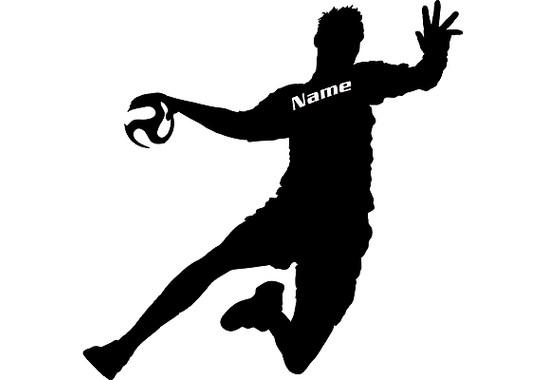 Das gesamte Motiv  - Wandtattoo Wunschtext Handball
