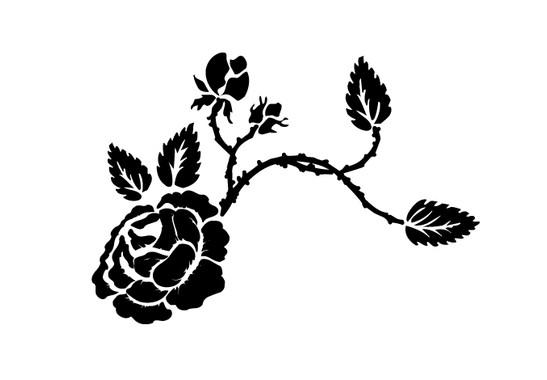 schwarz/weiss Ansicht - Wandtattoo Wild Roses