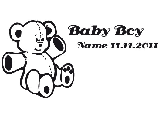 Glasdekor Wunschtext Baby Teddy - Bild 6
