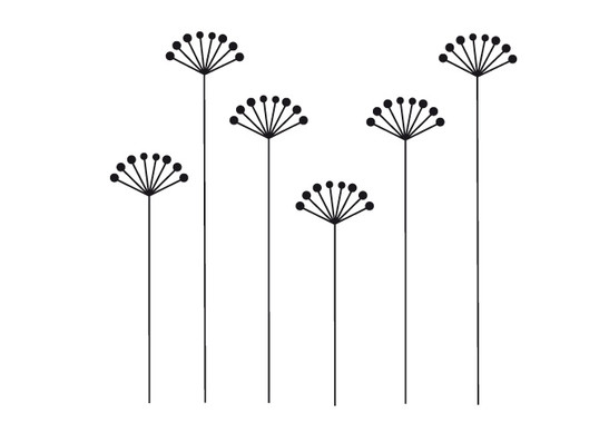 schwarz/weiss Ansicht - Wandtattoo Wallpaper flowers