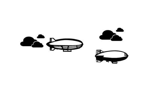 schwarz/weiss Ansicht - Wandtattoo Zeppelin Sky
