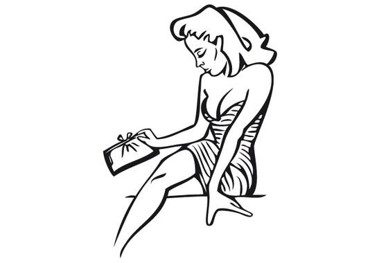 schwarz/weiss Ansicht - Wandtattoo Frau mit Handtasche