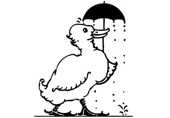 schwarz/weiss Ansicht - Wandtattoo Ente mit Schirm