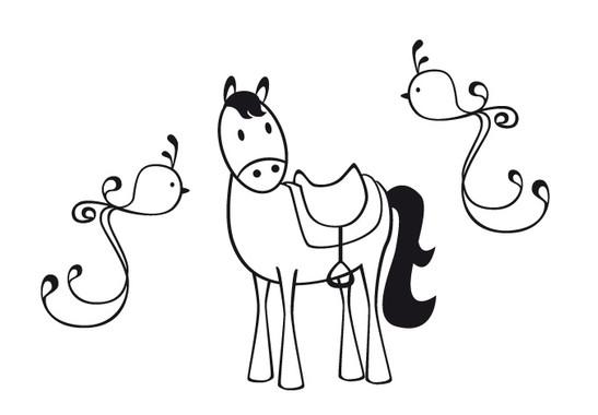 schwarz/weiss Ansicht - Wandtattoo Ponny