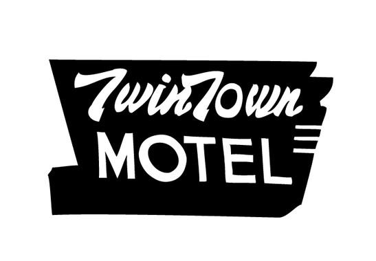 schwarz/weiss Ansicht - Wandtattoo Twin Town Motel