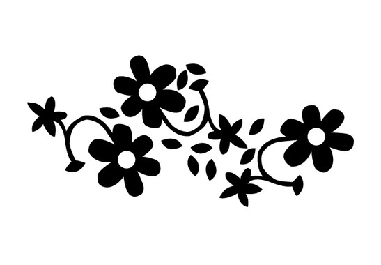schwarz/weiss Ansicht - Wandtattoo Blüten mit Blättern