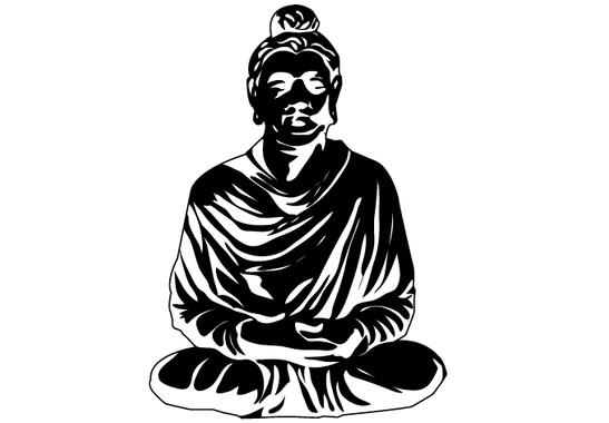 schwarz/weiss Ansicht - Wandtattoo Meditierender Buddha II