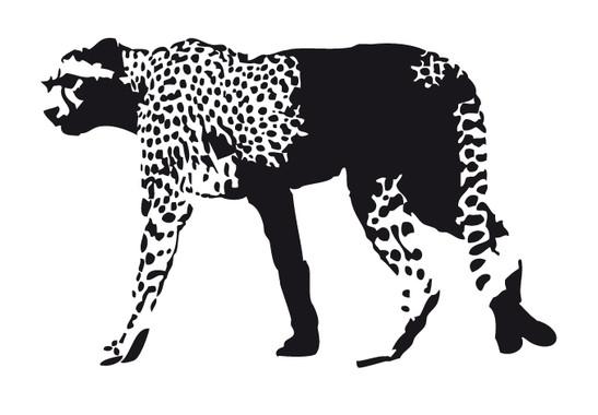 schwarz/weiss Ansicht - Wandtattoo Gepard