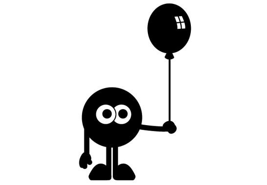 schwarz/weiss Ansicht - Wandtattoo Kugelmännchen mit Ballon