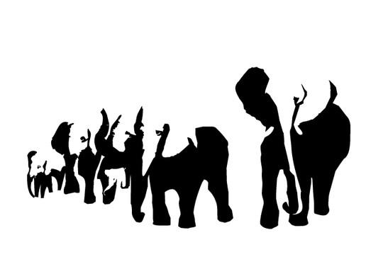 schwarz/weiss Ansicht - Wandtattoo Elefanten