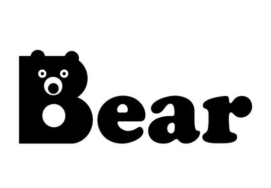 schwarz/weiss Ansicht - Wandtattoo Buchstaben Bear