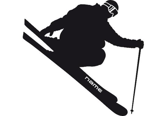 Das gesamte Motiv - Wandtattoo Wunschtext Skifahren
