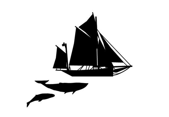 schwarz/weiss Ansicht - Wandtattoo Moby Dick Sailing