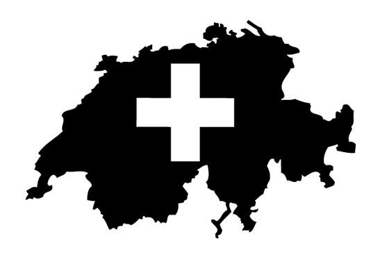 schwarz/weiss Ansicht - Wandtattoo Schweiz