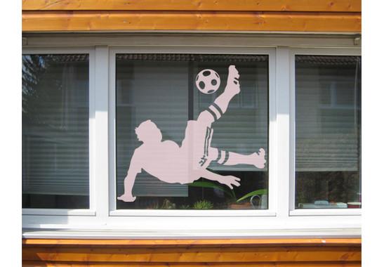 Folienfarbe in Wohnansicht: Romantic Rose - Glasdekor Fussball - Fallrückzieher