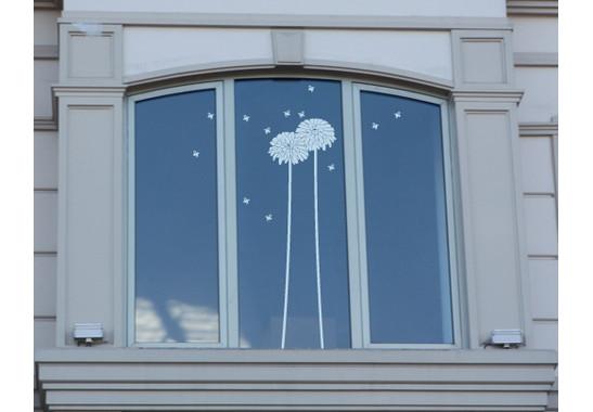 Folienfarbe in Wohnansicht: Offshore Blue - Glasdekor Löwenzahn
