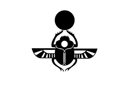 schwarz/weiss Ansicht - Wandtattoo Skarabäus Symbol