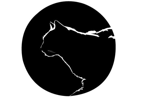 schwarz/weiss Ansicht - Wandtattoo Katze Gegenlicht