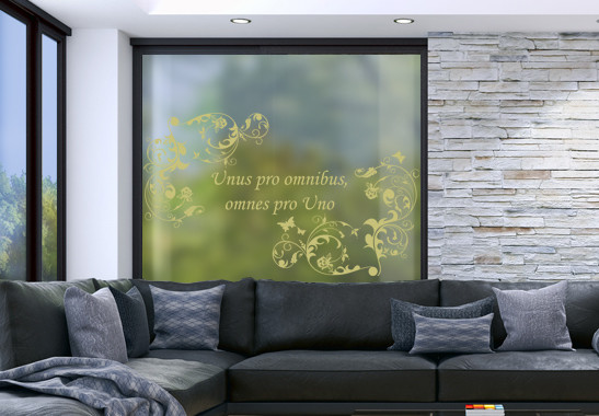 Glasdekor Wunschtext Floraler Rahmen - Bild 3