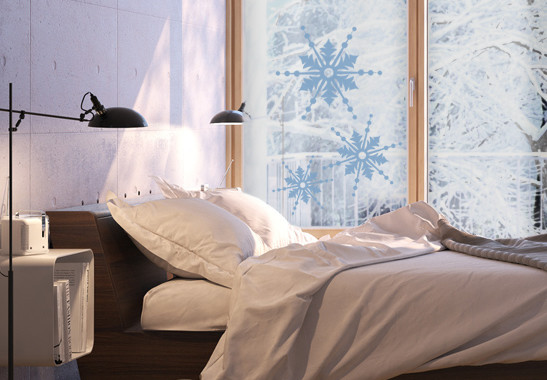 Glasdekor Drei Schneeflocken