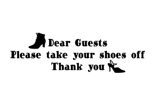 schwarz/weiss Ansicht - Wandtattoo Take your shoes off