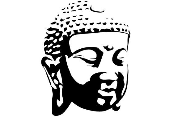 schwarz/weiss Ansicht - Wandtattoo Buddhagesicht Schatten I
