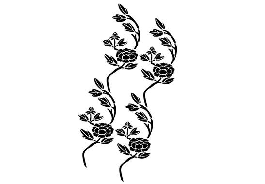 schwarz/weiss Ansicht - Wandtattoo Blütenast Tapete