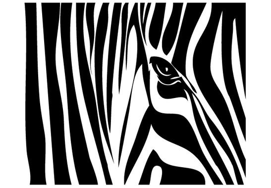 schwarz/weiss Ansicht - Wandtattoo Zebrastreifen