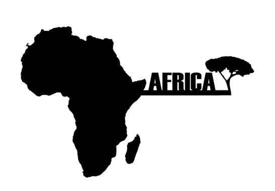 schwarz/weiss Ansicht - Wandtattoo Africamap