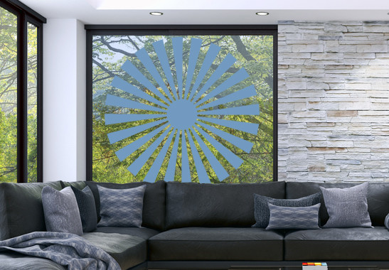 Glasdekor Sonnensymbol