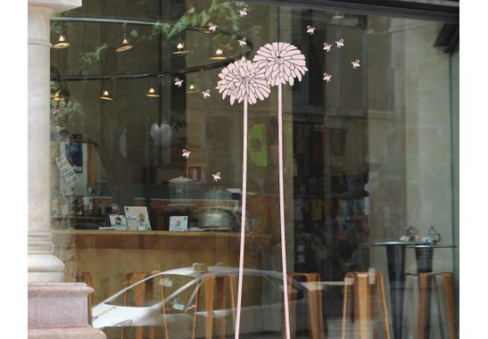Folienfarbe in Wohnansicht: Romantic Rose - Glasdekor Löwenzahn