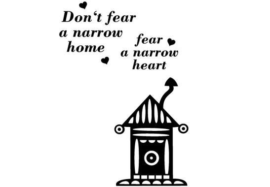 schwarz/weiss Ansicht - Wandtattoo Dont fear a narrow home
