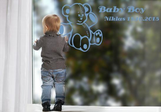 Glasdekor Wunschtext Baby Teddy