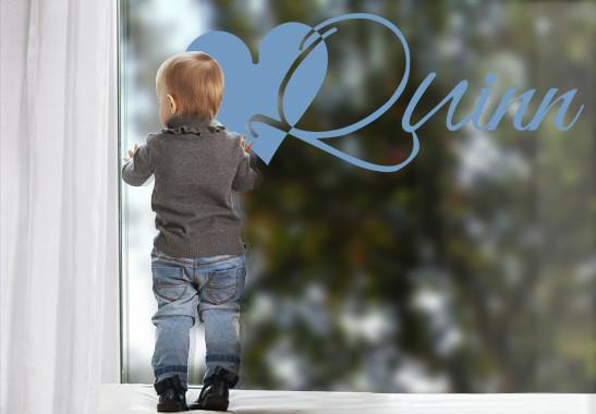 Glasdekor Wunschtext Initiale Q