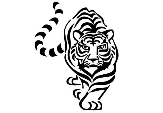 schwarz/weiss Ansicht - Wandtattoo Tiger