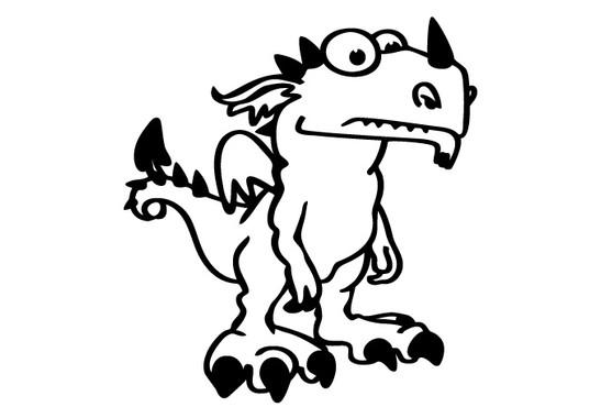 schwarz/weiss Ansicht - Wandtattoo Dinosaurier