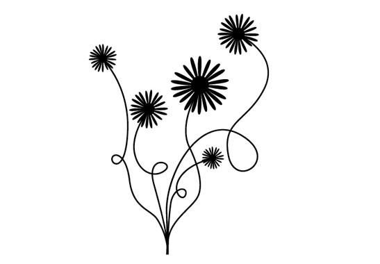 schwarz/weiss Ansicht - Wandtattoo Blumenstrauss
