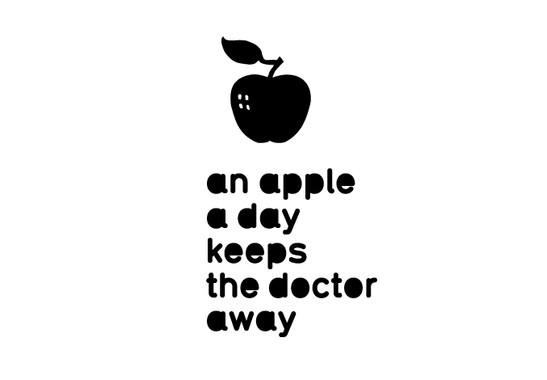 schwarz/weiss Ansicht - Wandtattoo An apple a day...