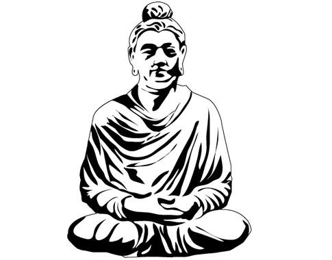 schwarz/weiss Ansicht - Wandtattoo Meditierender Buddha I
