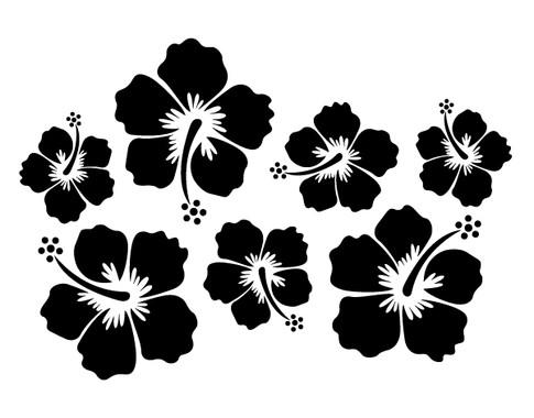 schwarz/weiss Ansicht - Wandtattoo Hibiskus