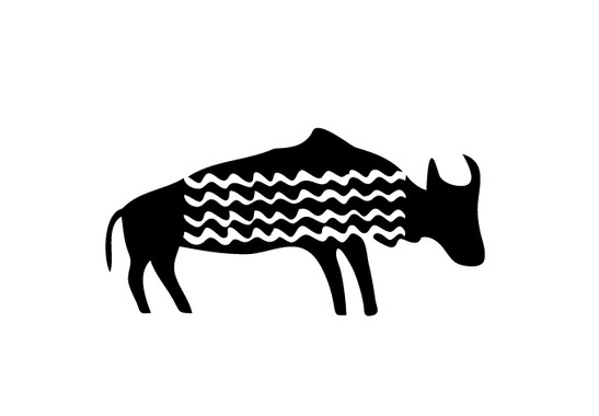 schwarz/weiss Ansicht - Wandtattoo Primitive Art Wasserbüffel