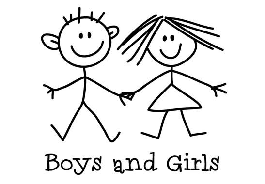 schwarz/weiss Ansicht - Wandtattoo Boys and Girls WC-Schild