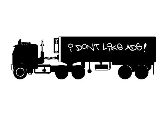 schwarz/weiss Ansicht - Wandtattoo Lastwagen