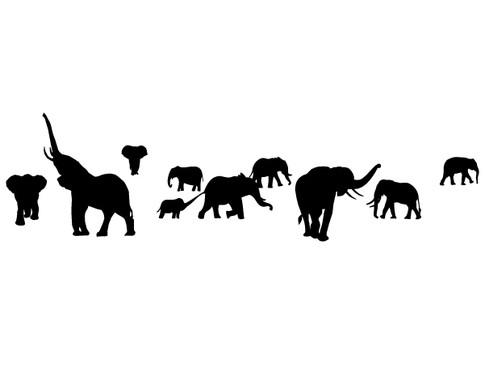 schwarz/weiss Ansicht - Wandtattoo I0 Elefanten