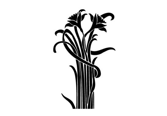 schwarz/weiss Ansicht - Wandtattoo Blumenbund Jugendstil