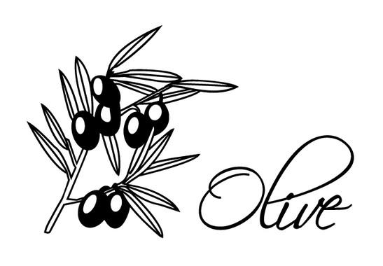 schwarz/weiss Ansicht - Wandtattoo Olive