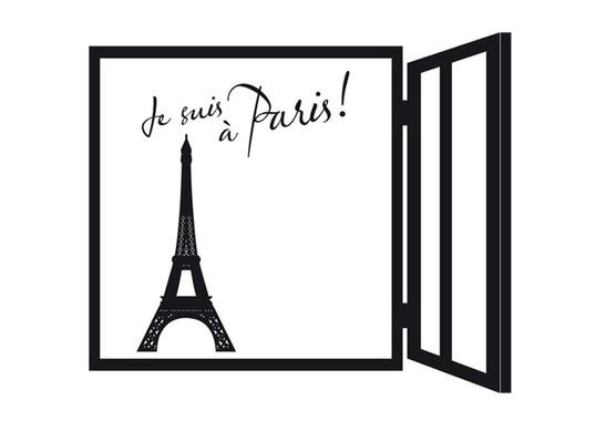 schwarz/weiss Ansicht - Wandtattoo Je suis à Paris!