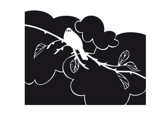Glasdekor Amsel Zweig - Bild 6