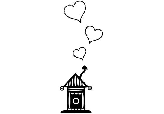 schwarz/weiss Ansicht - Wandtattoo Haus mit Herzen